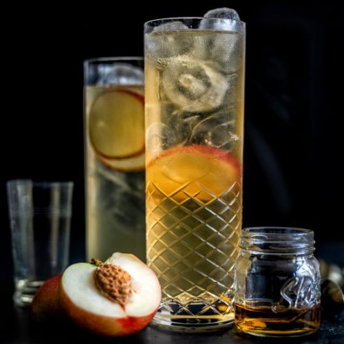 Sparkling peach cocktail