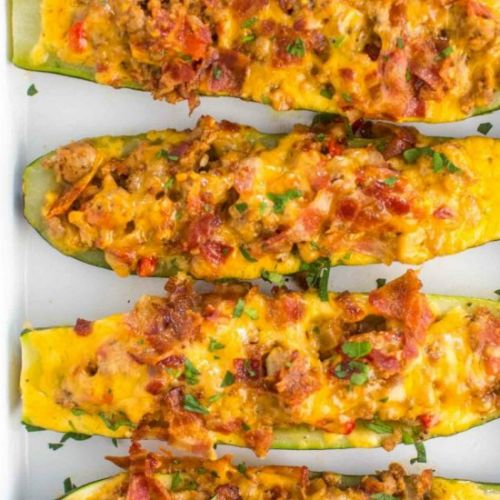 Chicken Bacon Ranch Zucchini Boats