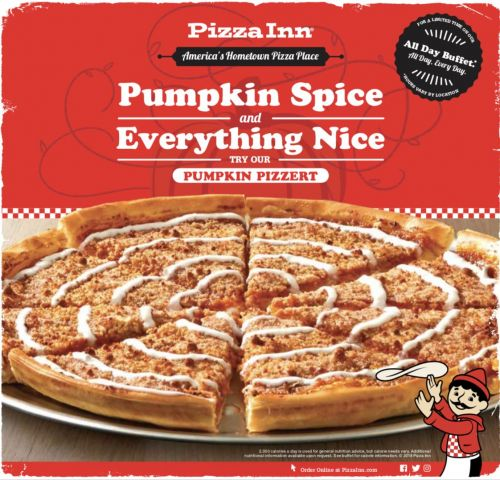 Back by Popular Demand: Pizza Inn's Pumpkin Pizzert