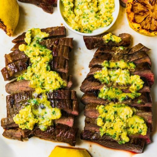 Flank Steak w/ Mustard-Chive Butter