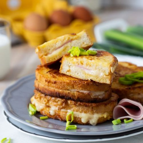 Ham and cheese filled French toast