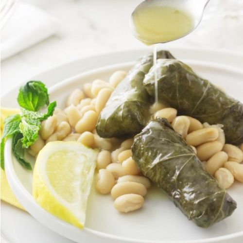 Greek dolmades with beans