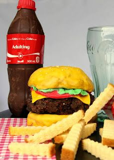 Burger, Fries, and Coke Cake