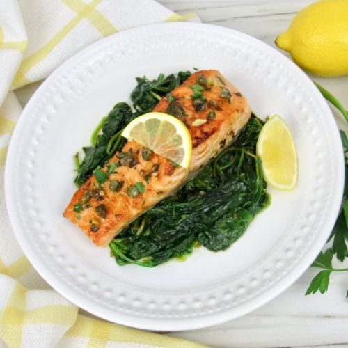 Salmon Piccata with Spinach