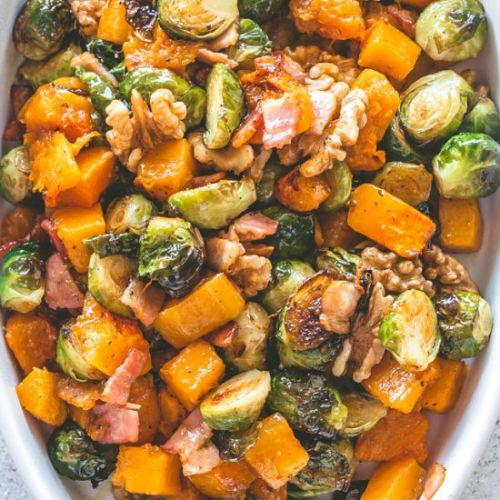 Roasted Squash and Brussels Sprouts