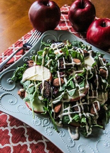 Autumn Apple Fig Salad with Lemon Maple Tahini Dressing