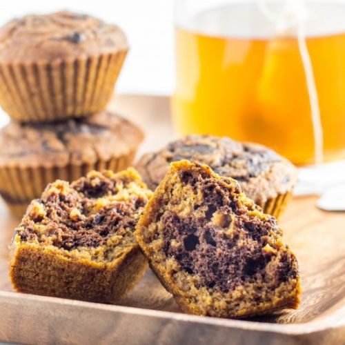 Pumpkin chocolate swirl muffins