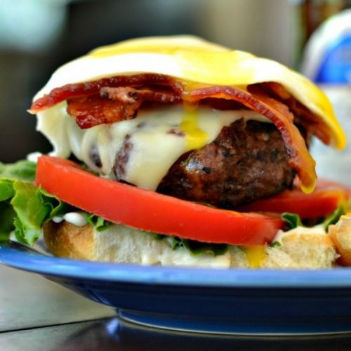 Egg Burger with Bacon and Chipotle