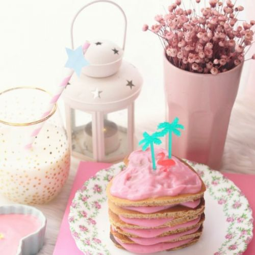 Cinnamon Pancake with pink custard