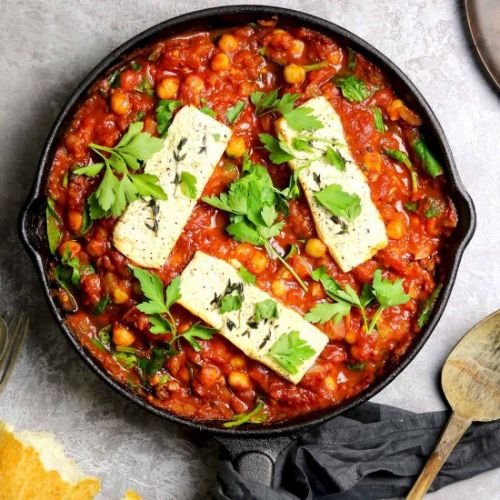 Baked Feta with Chickpeas & Spinach