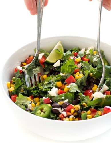 Mexican Kale Salad with Cilantro-Lime Vinaigrette
