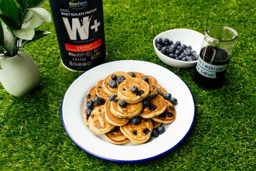 Protein Packed Mini Blueberry Espresso Pancakes