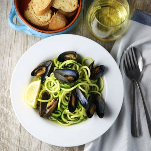 White Wine Mussels with Zoodles