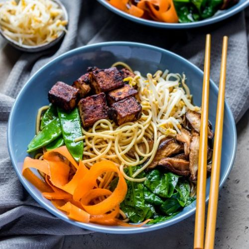 Vegan ramen with miso-glazed tofu