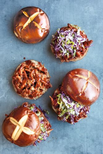 Slow-Cooker Pulled Chicken Sandwiches with Cabbage Slaw