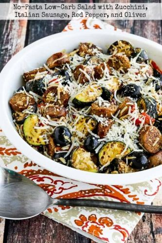 No-Pasta Low-Carb Salad with Zucchini, Italian Sausage, Red Pepper, and Olives
