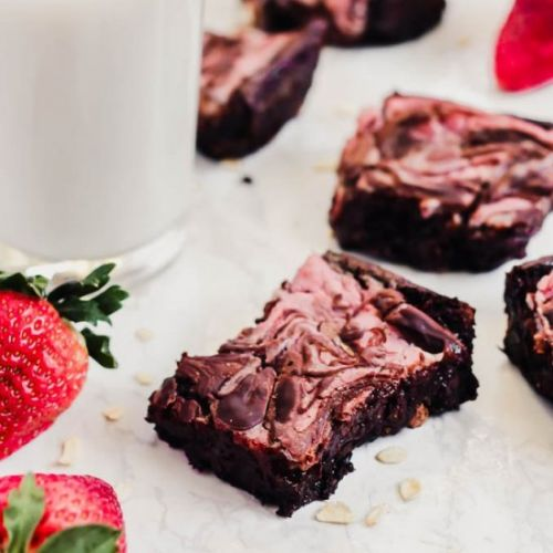 Strawberry Cheesecake Vegan Brownie
