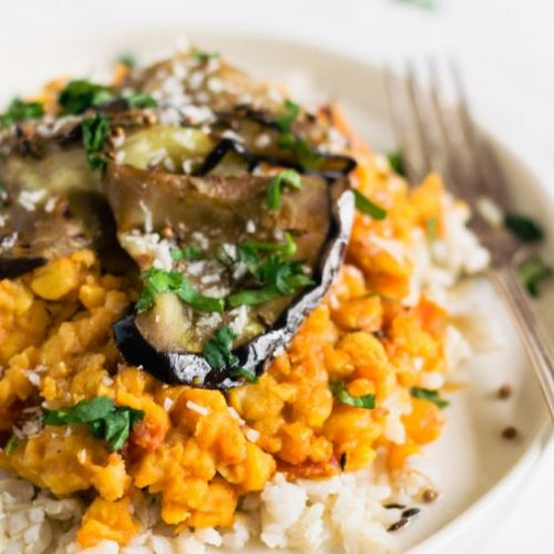 Slow Cooker Dahl with Aubergines