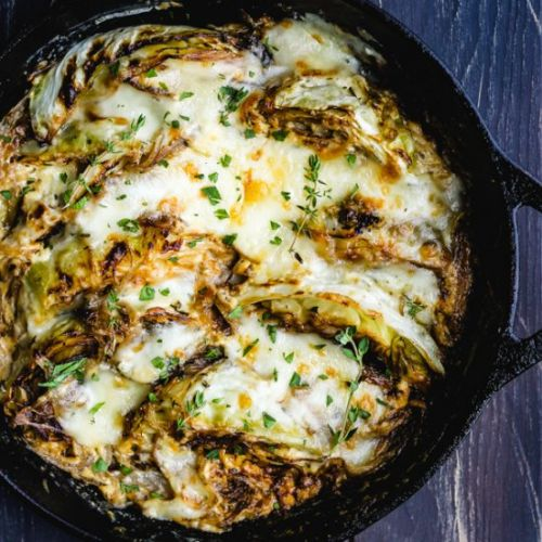 Cream Braised Cabbage with Taleggio
