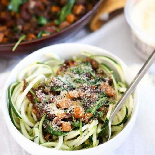 Fall Zoodles with Sausage and Kale