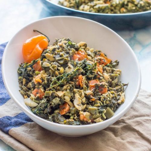 Jamaican saltfish and callaloo