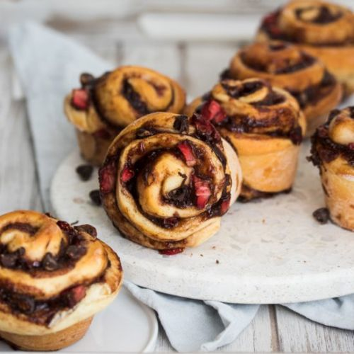 Chocolate Strawberry Cinnamon Rolls