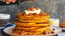 Pumpkin Spice Pancakes With Candied Pecans And Orange Creme Fraiche