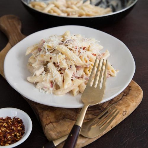 Leftover Chicken and Bacon Pasta