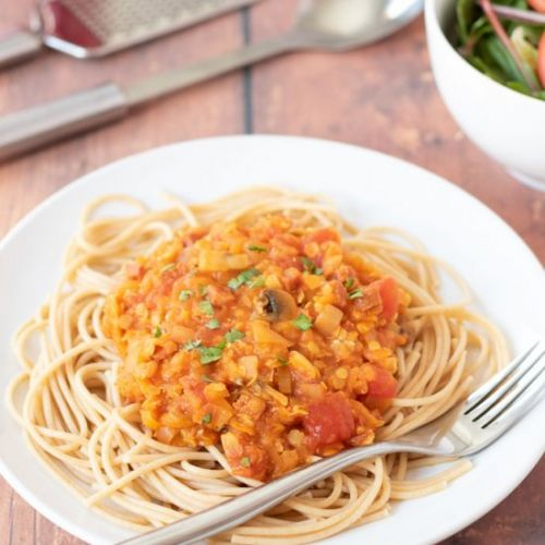 Chorizo Bolognese with Lentils