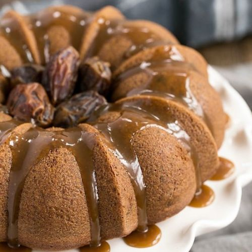 Caramel Topped Date Cake