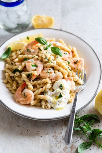 Lemon, Shrimp, Burrata Pasta