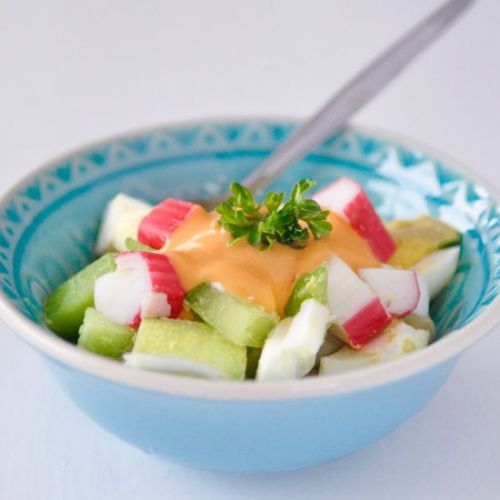 Surimi salad with homemade sauce
