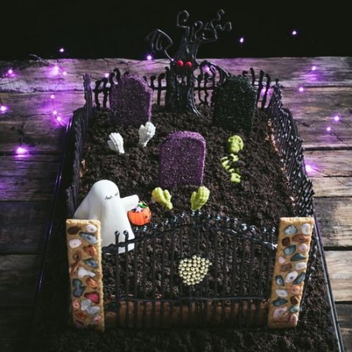 Halloween Chocolate Graveyard Cake