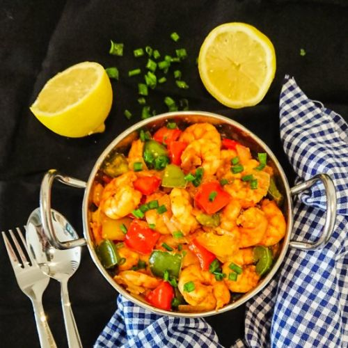 Garlic prawns with peppers