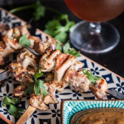 Beer Chicken Satay with Almond