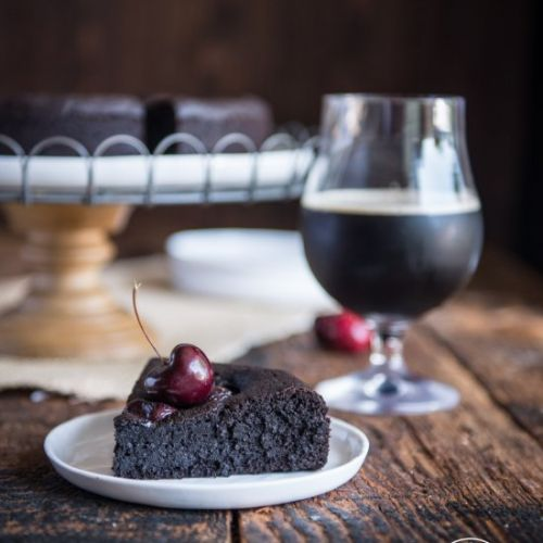 Chocolate Stout Cake with Cherries