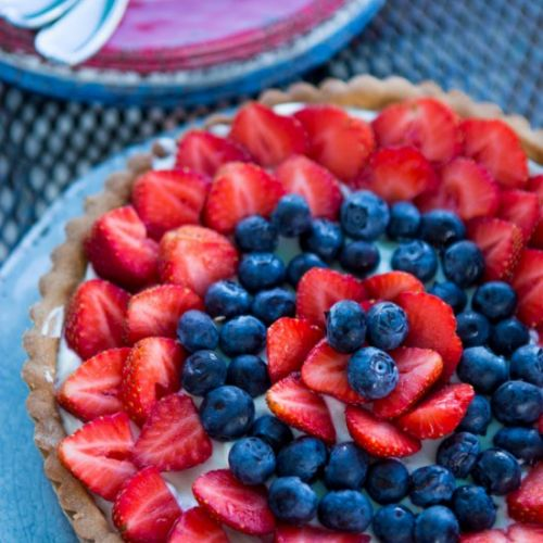 Red white and blue strawberry tart