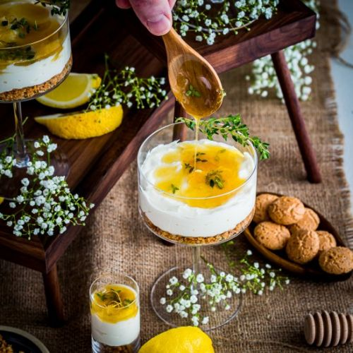 Cheesecake with Honey-Thyme Drizzle
