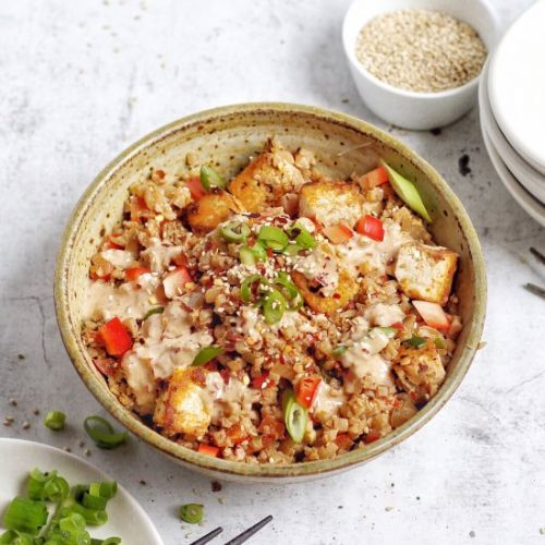 Spicy Tahini Riced Cauliflower
