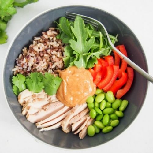 Leftover chicken Buddha bowl