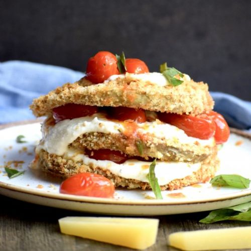 Eggplant stacks with whipped feta
