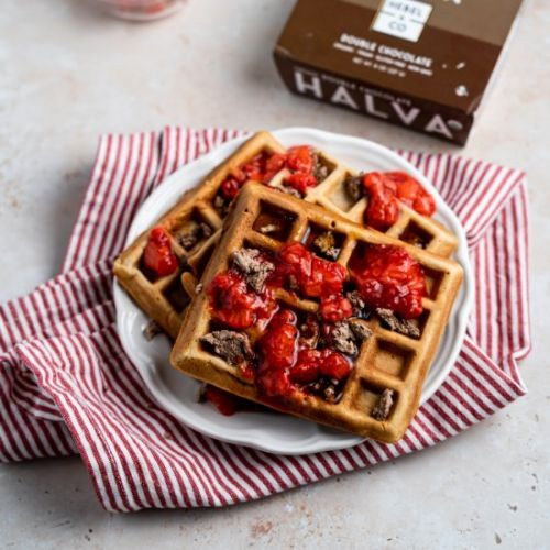 Tahini Waffles w Strawberry Compote