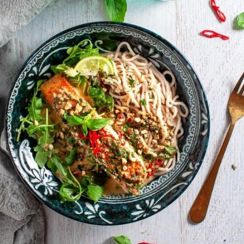 Coconut Lime Salmon with Noodles