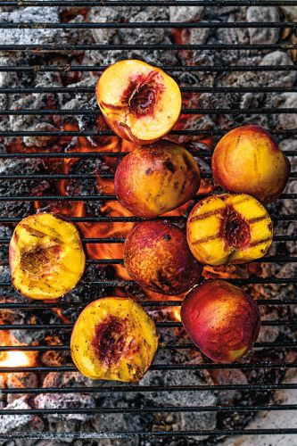 Grilled Peaches with Salted Caramel Sauce