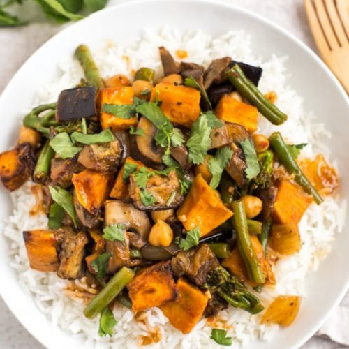 Aubergine and sweet potato curry
