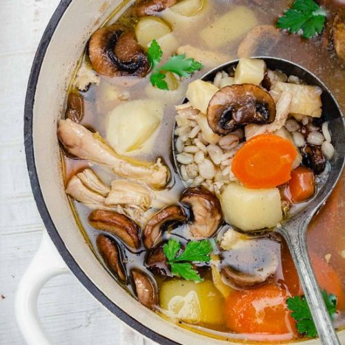 Chicken Barley Soup With Mushrooms