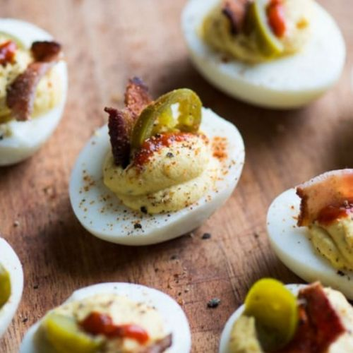 Spicy Deviled Eggs with Bacon
