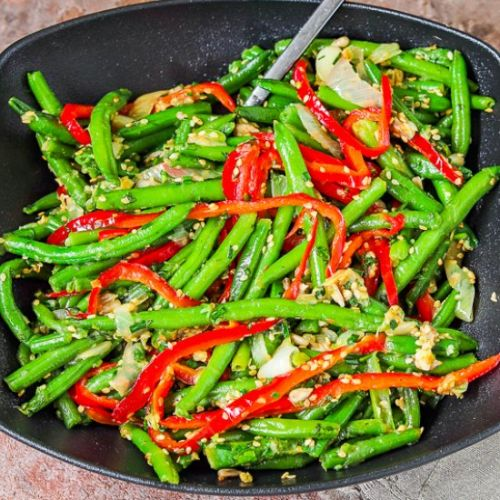Frozen green beans with bell pepper