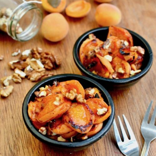 Grilled Apricots with Walnuts