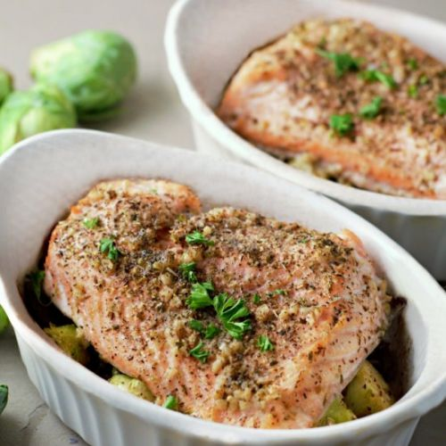 Baked Salmon and Brussels Sprouts